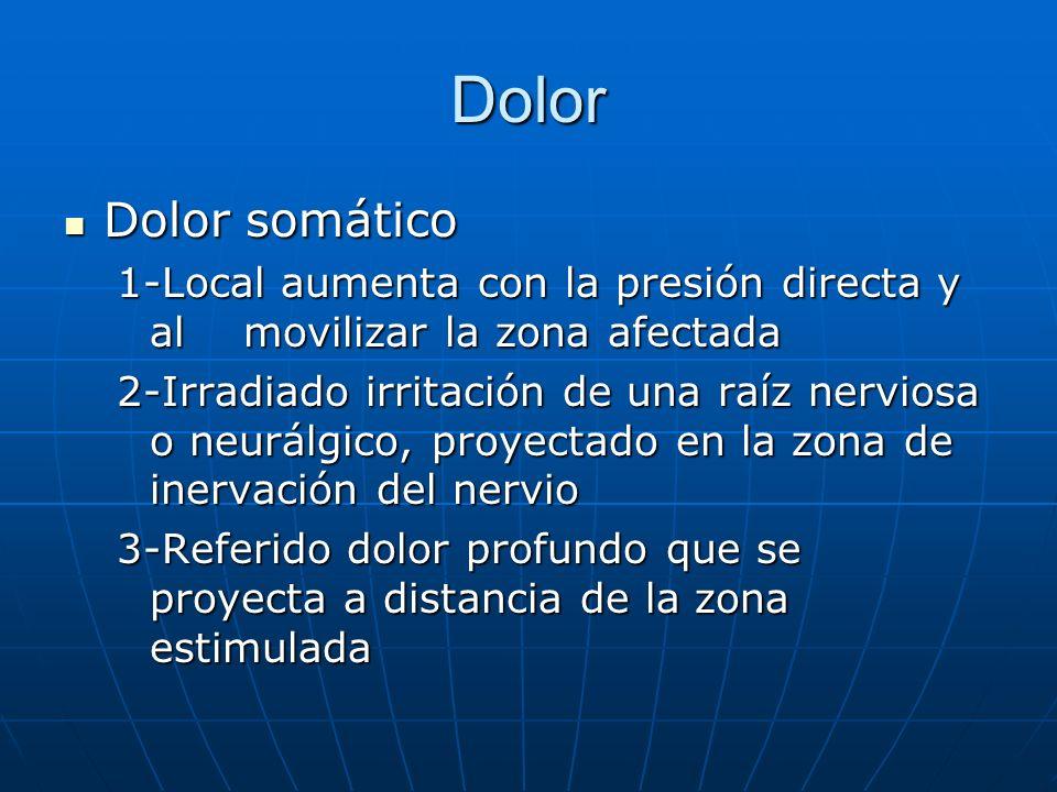 Dolor Dolor somático. 1-Local aumenta con la presión directa y al movilizar la zona afectada.