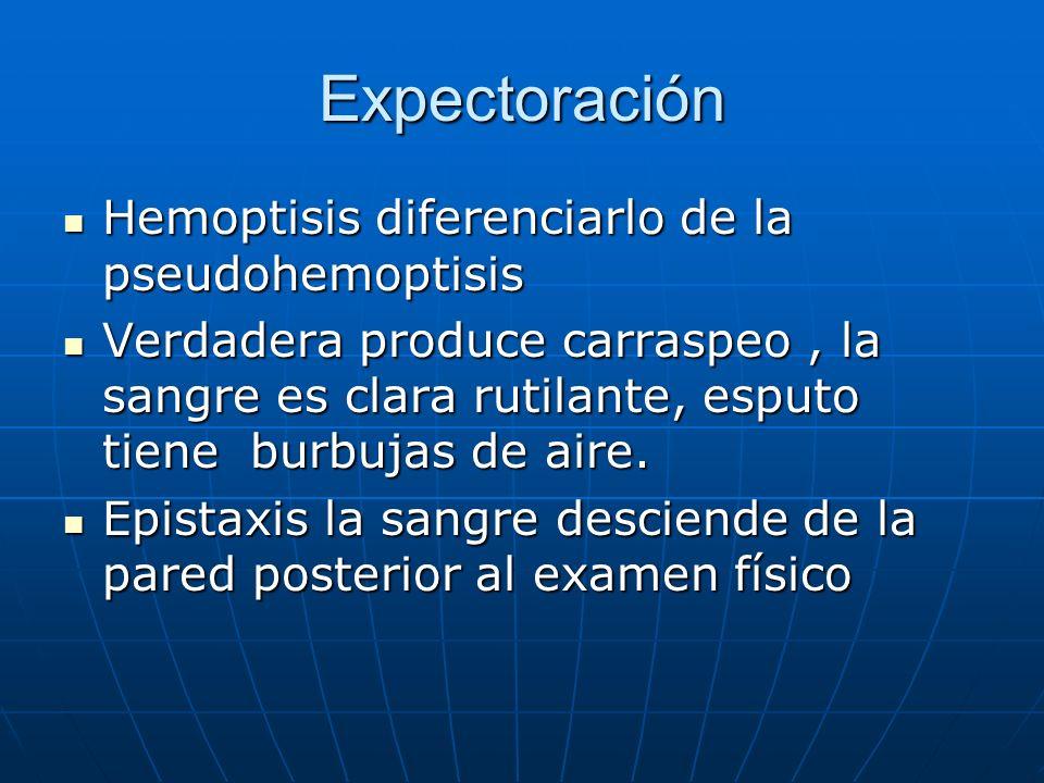 Expectoración Hemoptisis diferenciarlo de la pseudohemoptisis