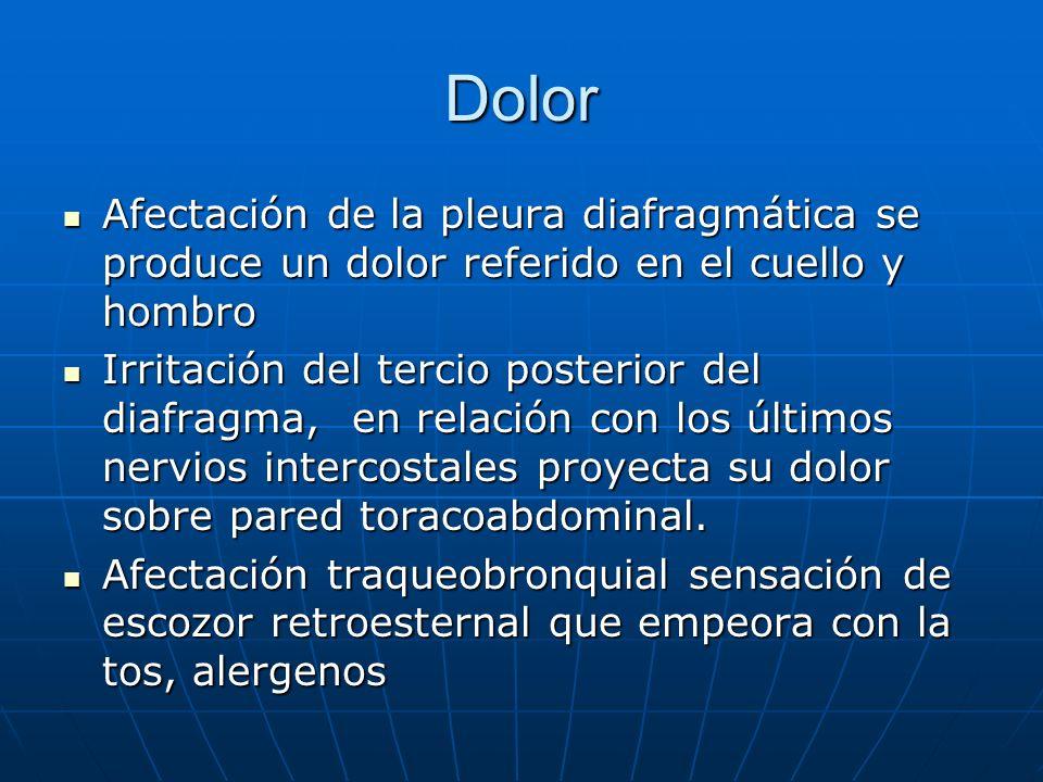 Dolor Afectación de la pleura diafragmática se produce un dolor referido en el cuello y hombro.