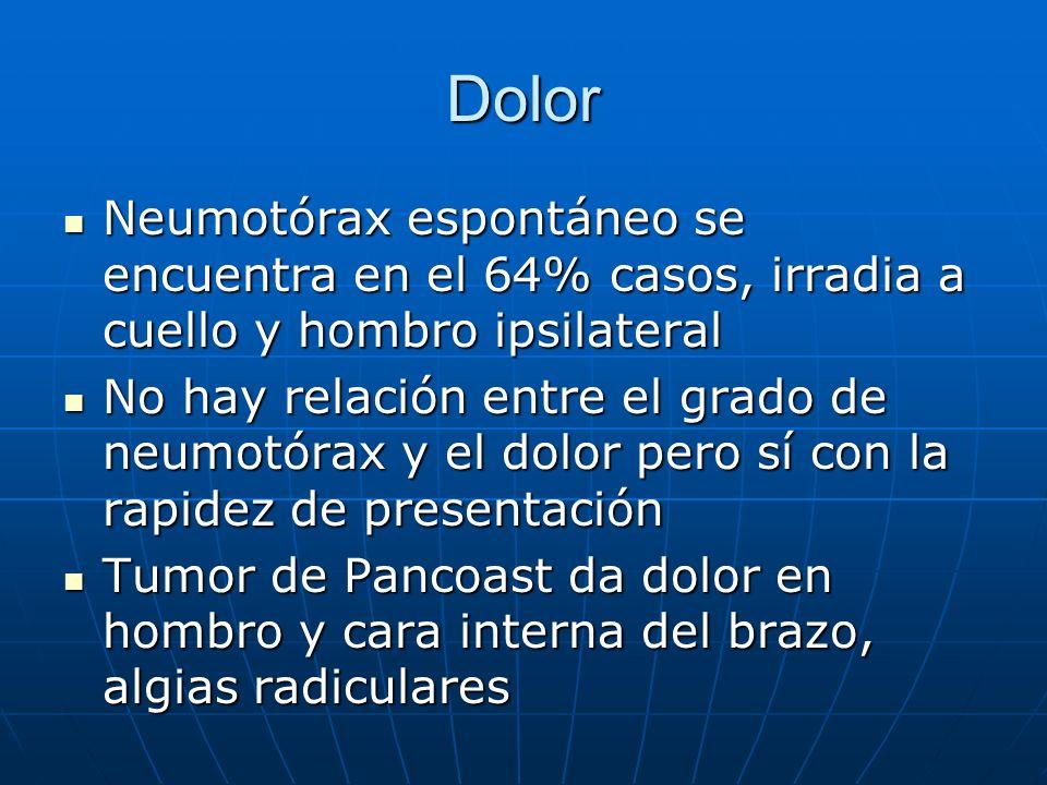 DolorNeumotórax espontáneo se encuentra en el 64% casos, irradia a cuello y hombro ipsilateral.