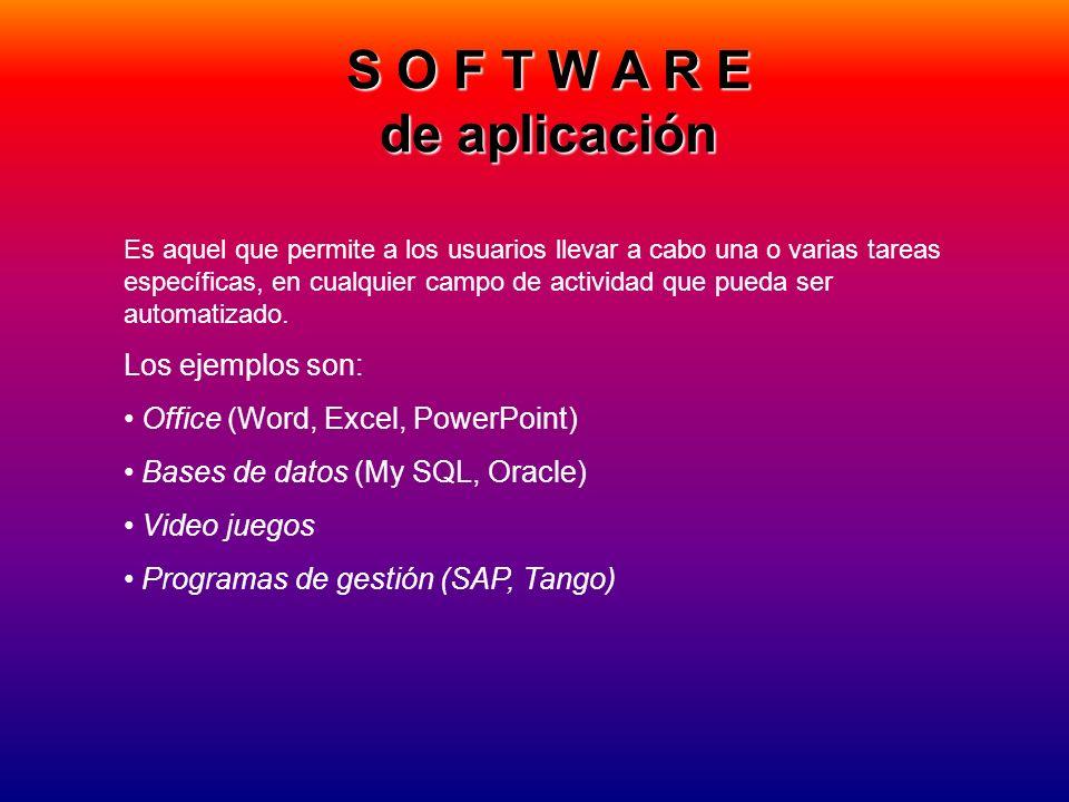 S O F T W A R E de aplicación