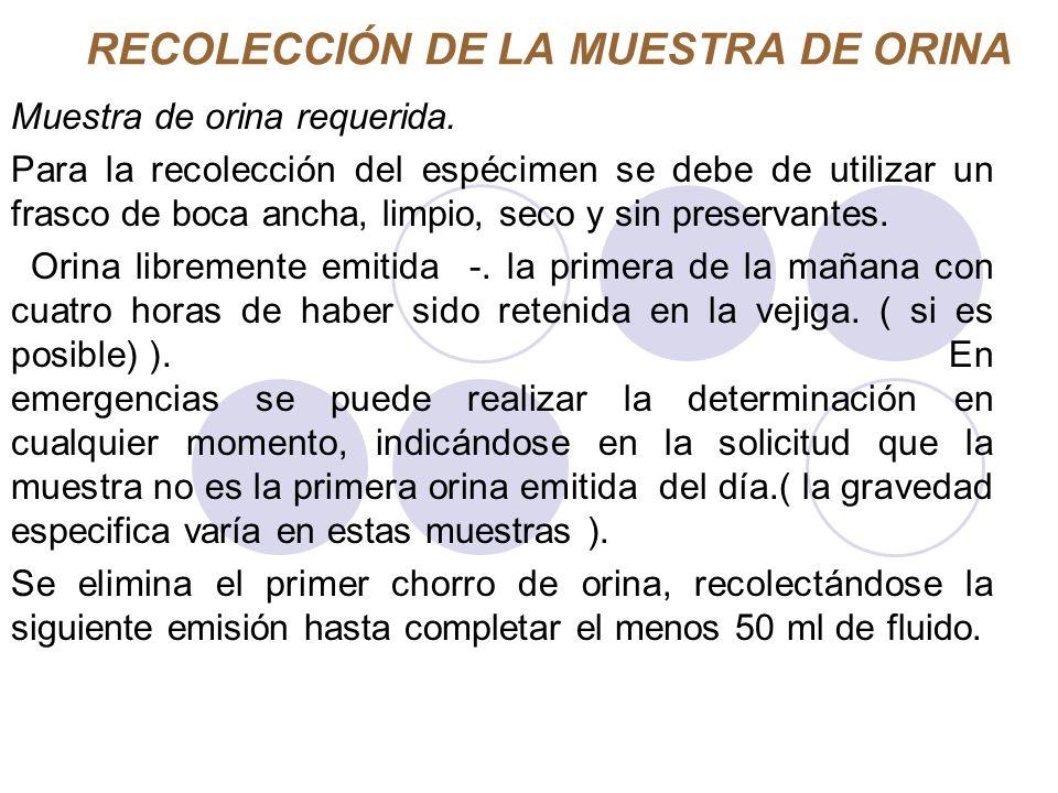 RECOLECCIÓN DE LA MUESTRA DE ORINA