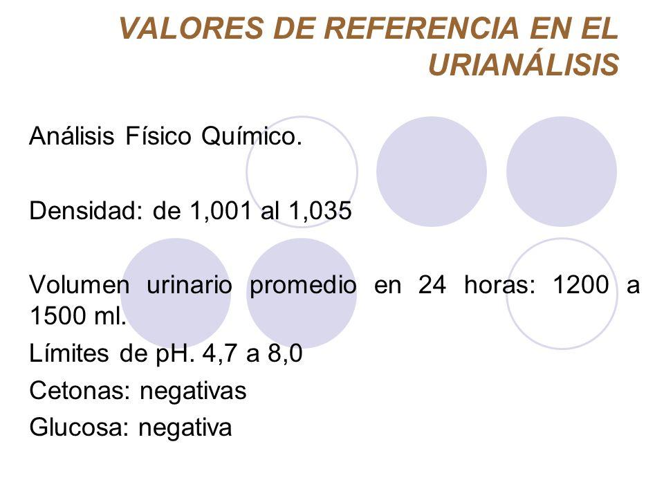 VALORES DE REFERENCIA EN EL URIANÁLISIS