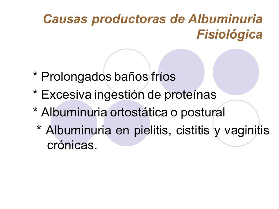 Causas productoras de Albuminuria Fisiológica