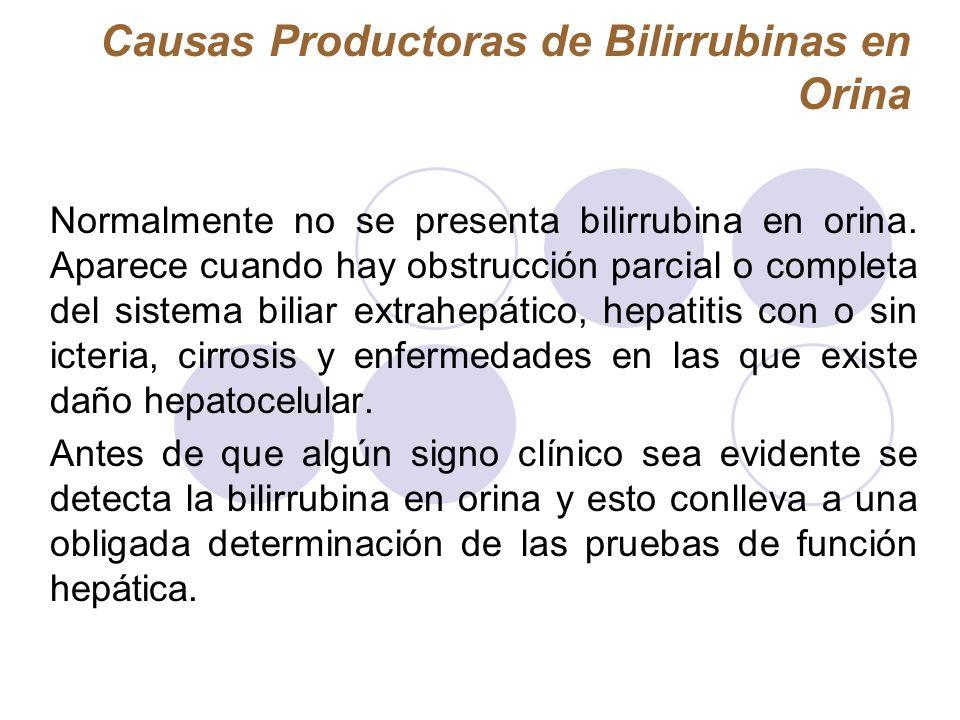 Causas Productoras de Bilirrubinas en Orina