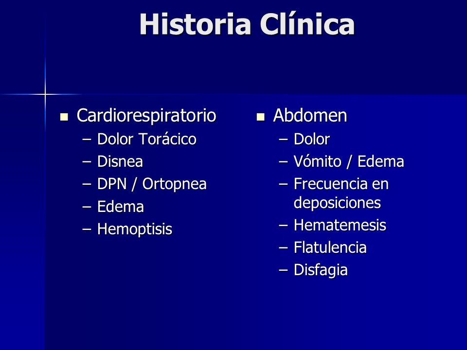 Historia Clínica Cardiorespiratorio Abdomen Dolor Torácico Disnea