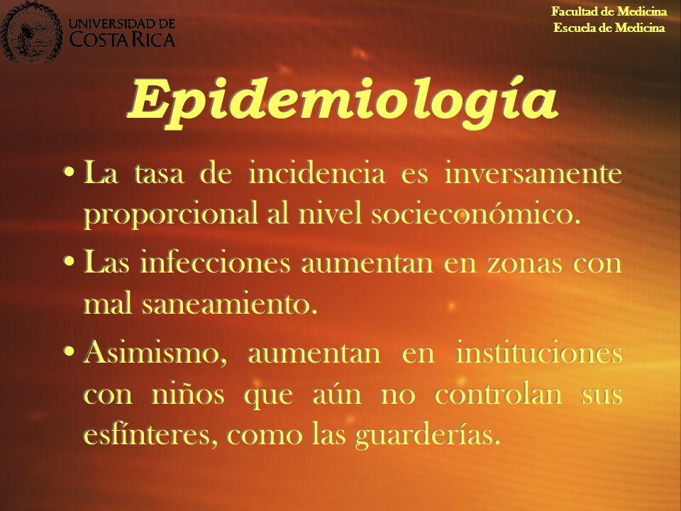 Facultad de Medicina Escuela de Medicina. Epidemiología. La tasa de incidencia es inversamente proporcional al nivel socieconómico.