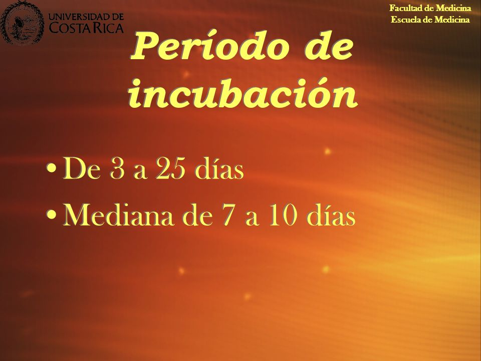 Período de incubación De 3 a 25 días Mediana de 7 a 10 días
