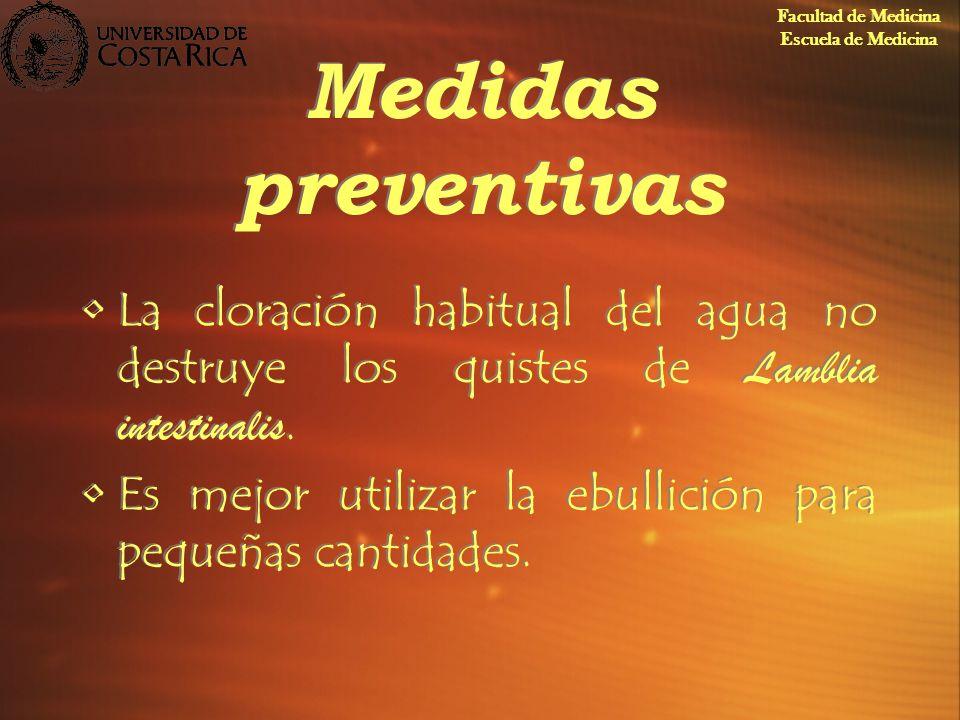 Facultad de Medicina Escuela de Medicina. Medidas preventivas. La cloración habitual del agua no destruye los quistes de Lamblia intestinalis.
