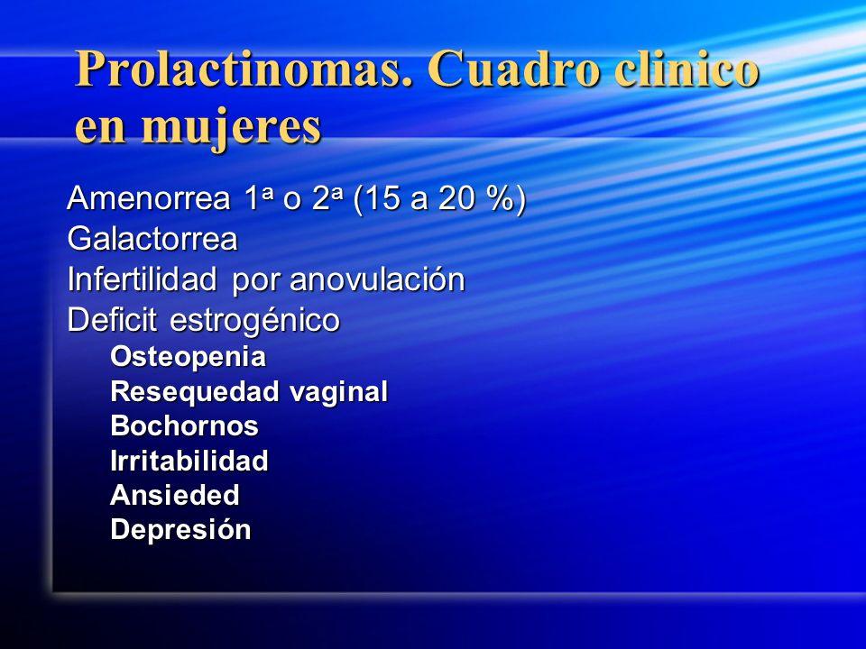 Prolactinomas. Cuadro clinico en mujeres