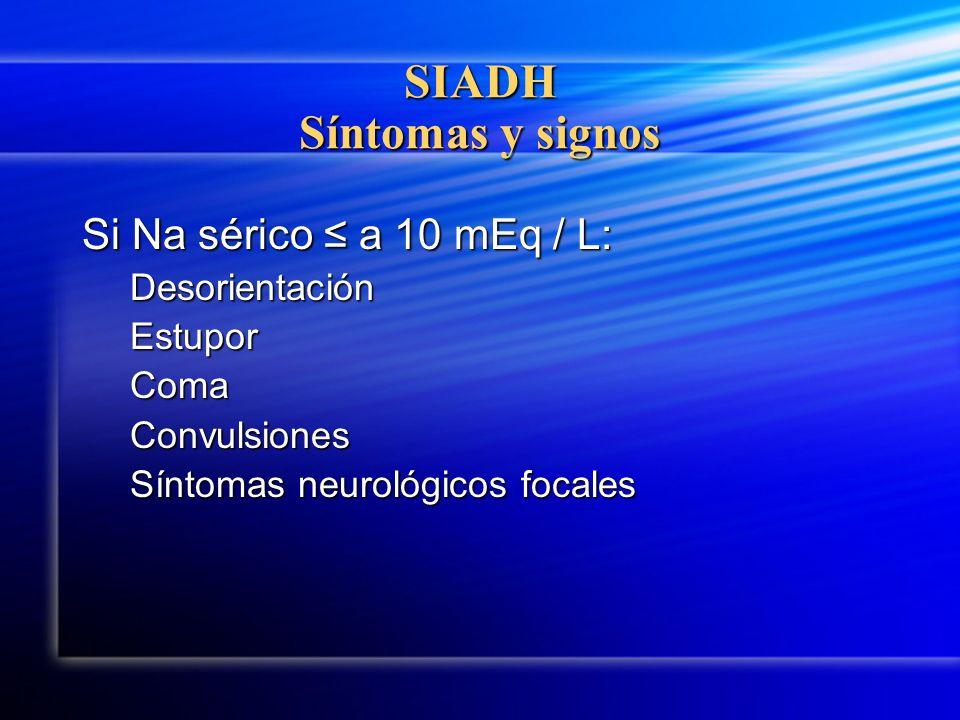 SIADH Síntomas y signos