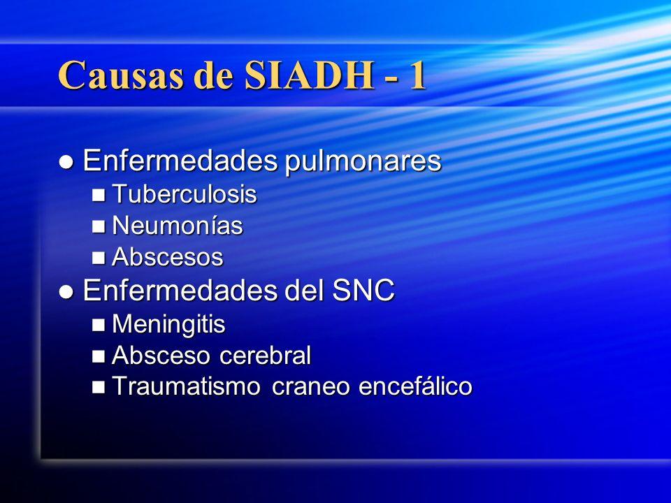Causas de SIADH - 1 Enfermedades pulmonares Enfermedades del SNC