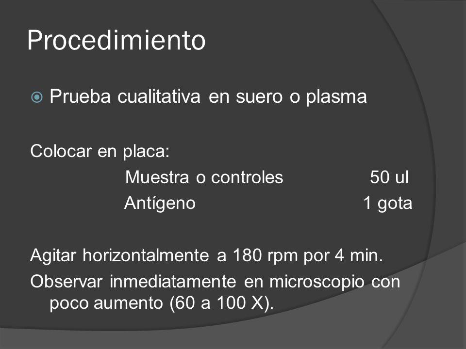 Procedimiento Prueba cualitativa en suero o plasma Colocar en placa: