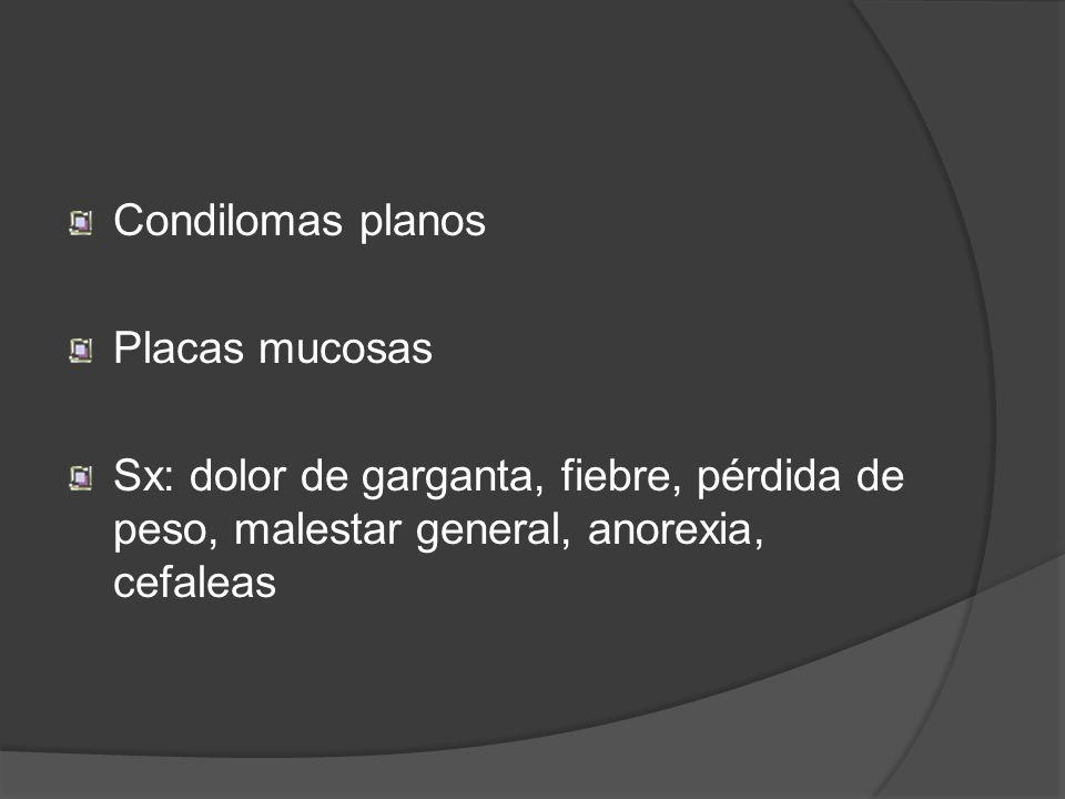 Condilomas planos Placas mucosas.
