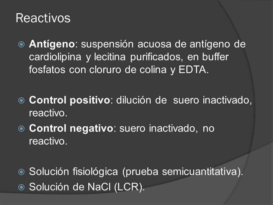 Reactivos Antígeno: suspensión acuosa de antígeno de cardiolipina y lecitina purificados, en buffer fosfatos con cloruro de colina y EDTA.