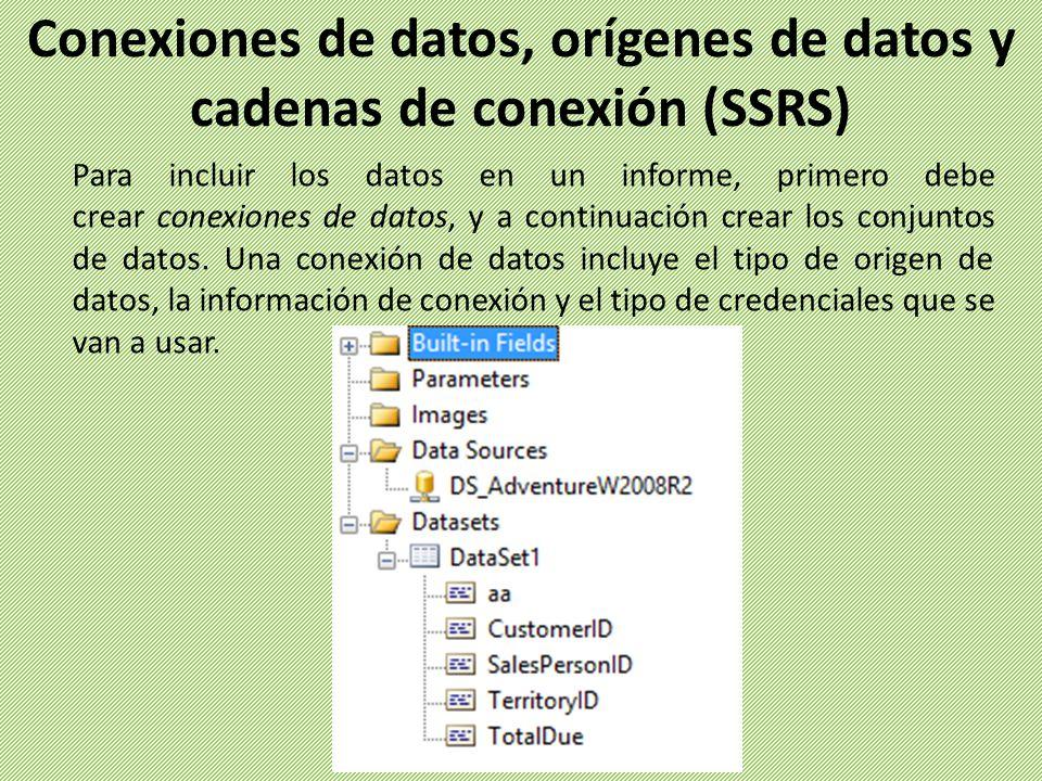 Conexiones de datos, orígenes de datos y cadenas de conexión (SSRS)
