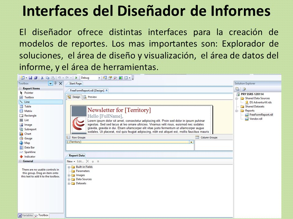 Interfaces del Diseñador de Informes