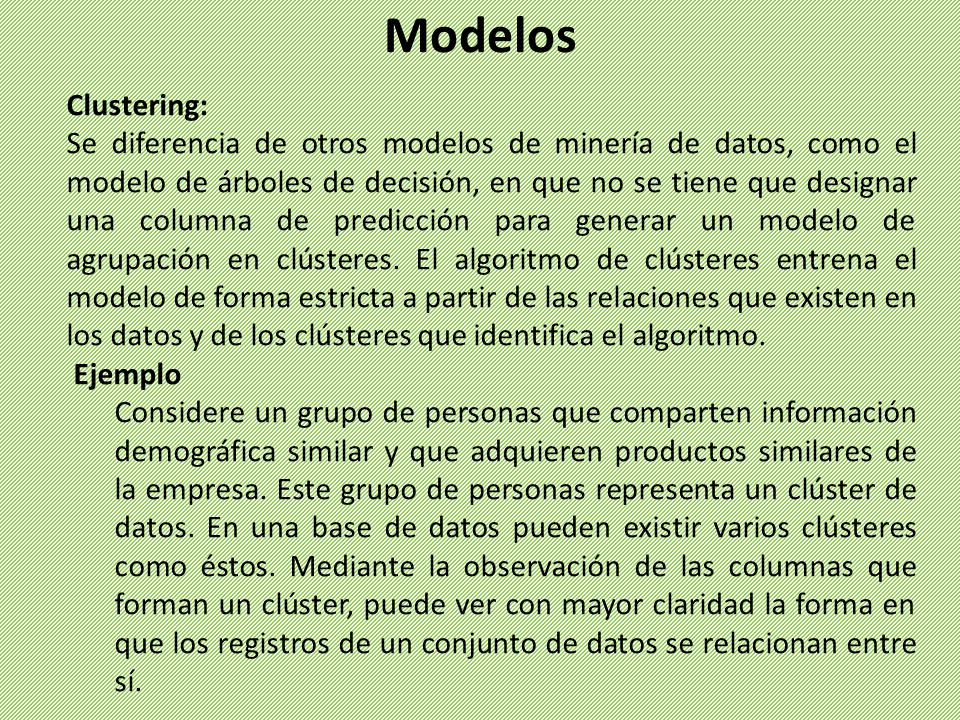 Modelos Clustering: