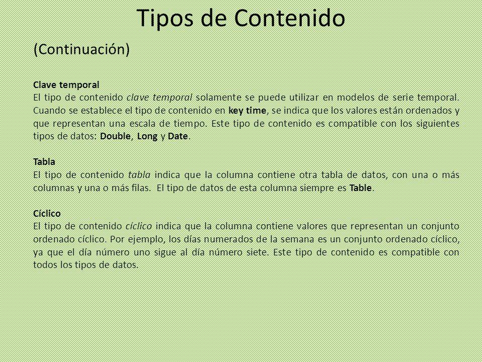 Tipos de Contenido (Continuación) Clave temporal