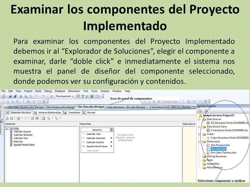 Examinar los componentes del Proyecto Implementado