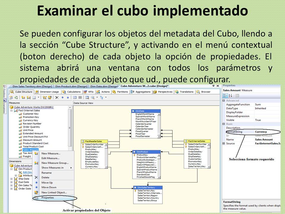 Examinar el cubo implementado