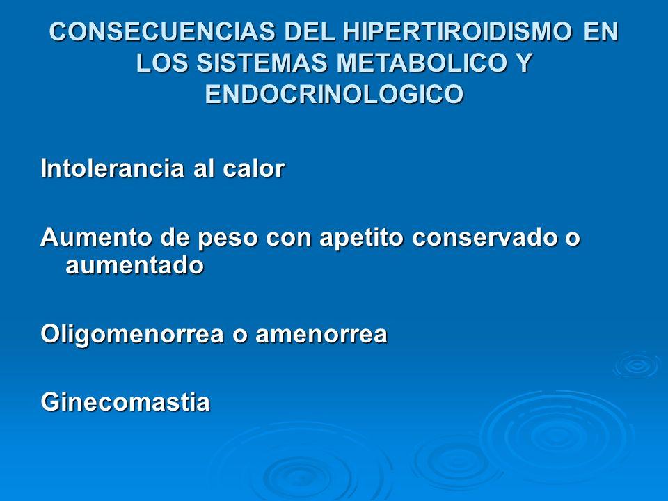 CONSECUENCIAS DEL HIPERTIROIDISMO EN LOS SISTEMAS METABOLICO Y ENDOCRINOLOGICO