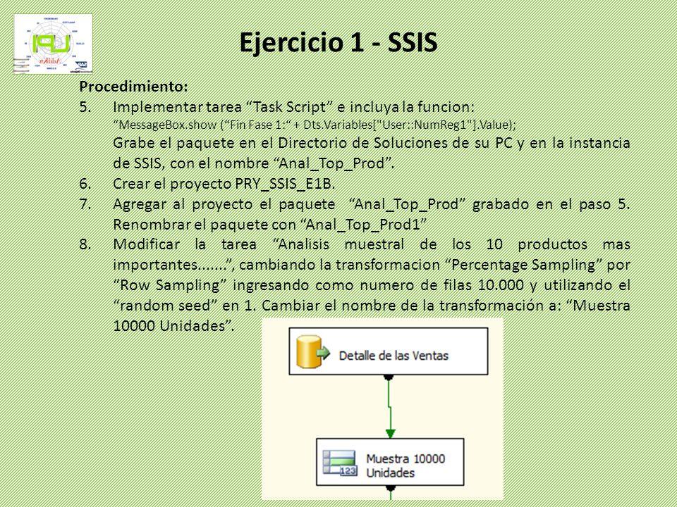 Ejercicio 1 - SSIS Procedimiento: