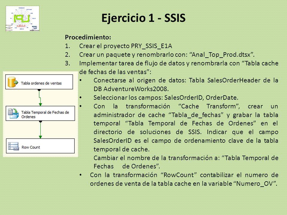 Ejercicio 1 - SSIS Procedimiento: Crear el proyecto PRY_SSIS_E1A