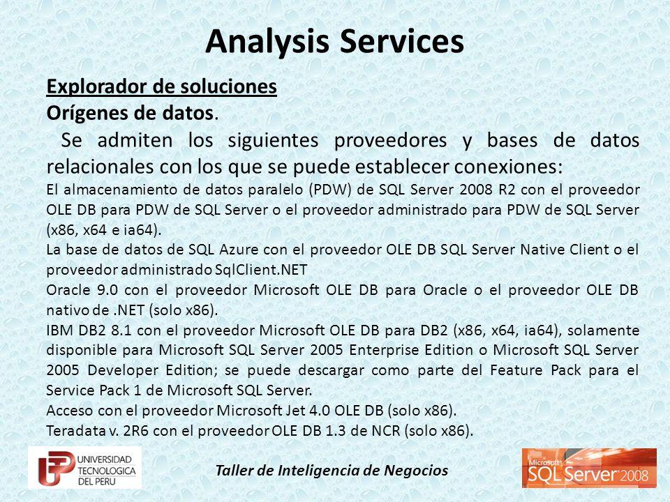 Analysis Services Explorador de soluciones Orígenes de datos.