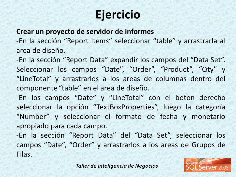 Ejercicio Crear un proyecto de servidor de informes