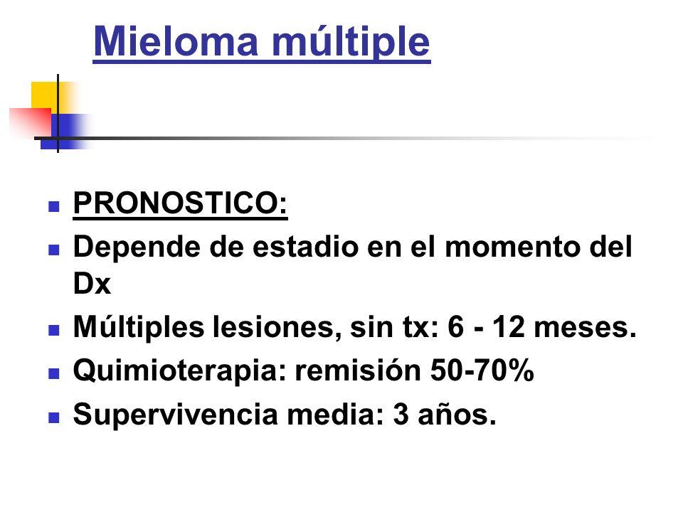 Mieloma múltiple PRONOSTICO: Depende de estadio en el momento del Dx