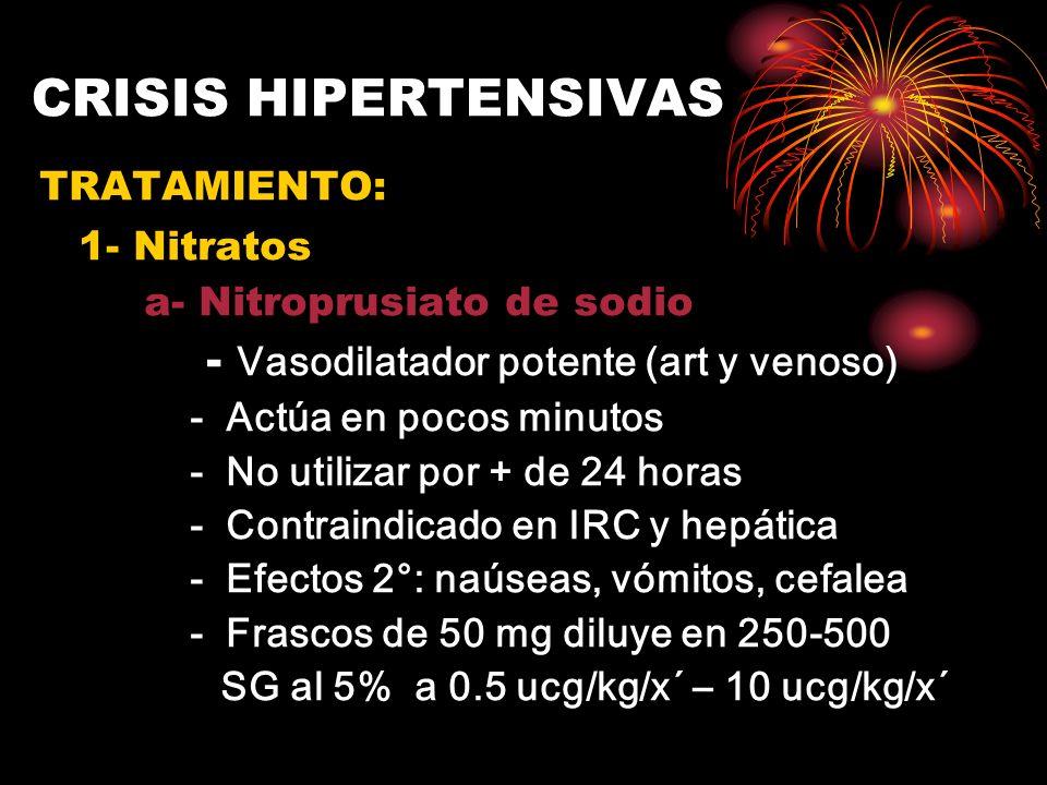 CRISIS HIPERTENSIVAS 1- Nitratos