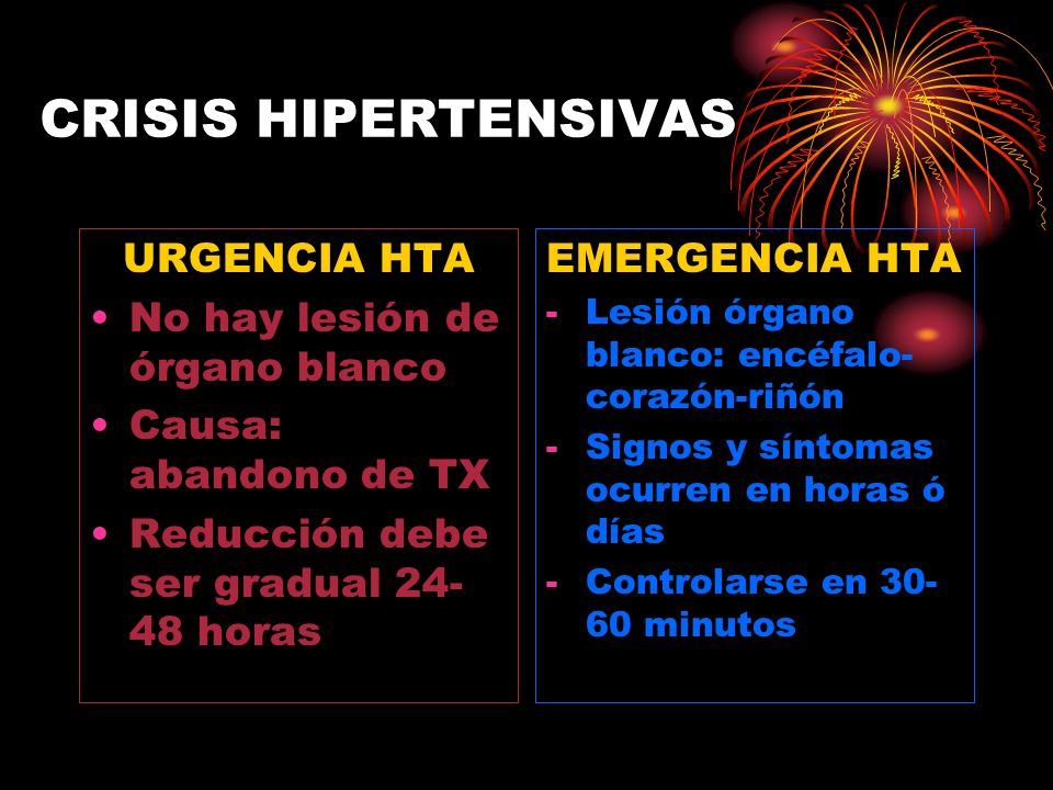 CRISIS HIPERTENSIVAS URGENCIA HTA No hay lesión de órgano blanco