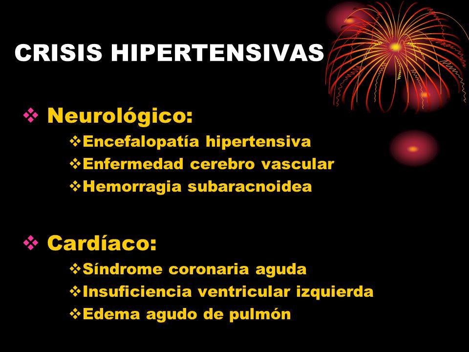CRISIS HIPERTENSIVAS Neurológico: Cardíaco: Encefalopatía hipertensiva