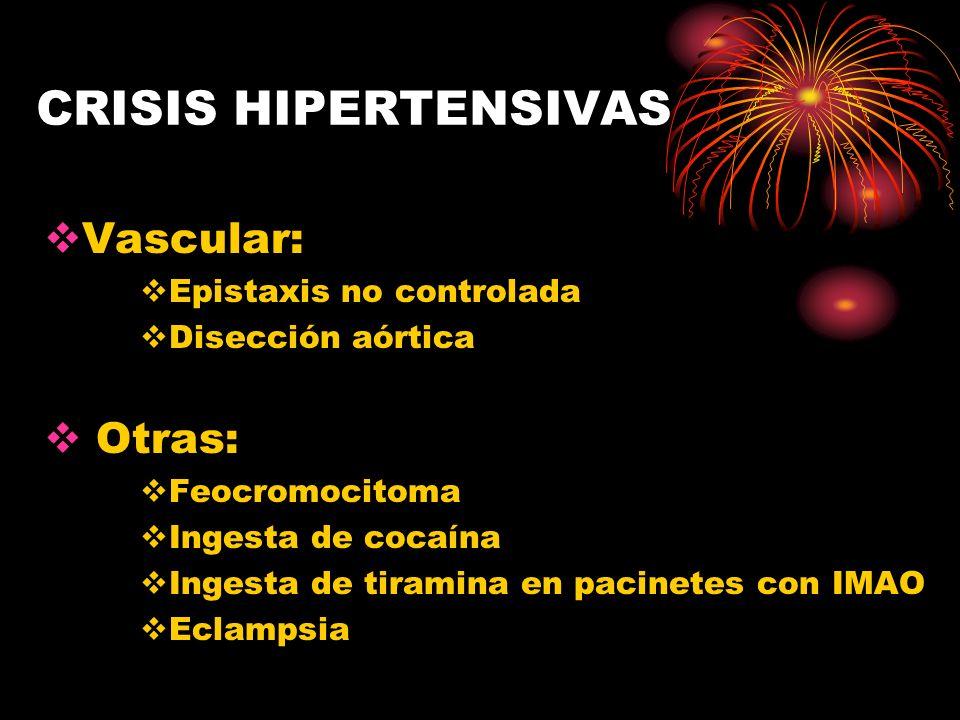 CRISIS HIPERTENSIVAS Vascular: Otras: Epistaxis no controlada