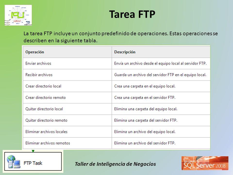 Tarea FTP La tarea FTP incluye un conjunto predefinido de operaciones.
