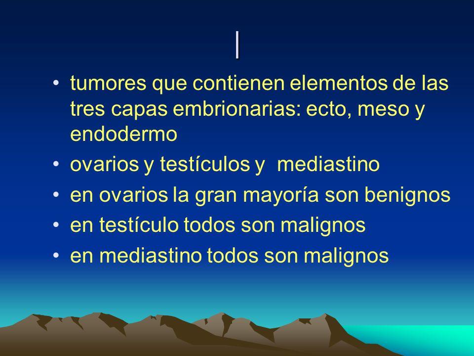 | tumores que contienen elementos de las tres capas embrionarias: ecto, meso y endodermo. ovarios y testículos y mediastino.