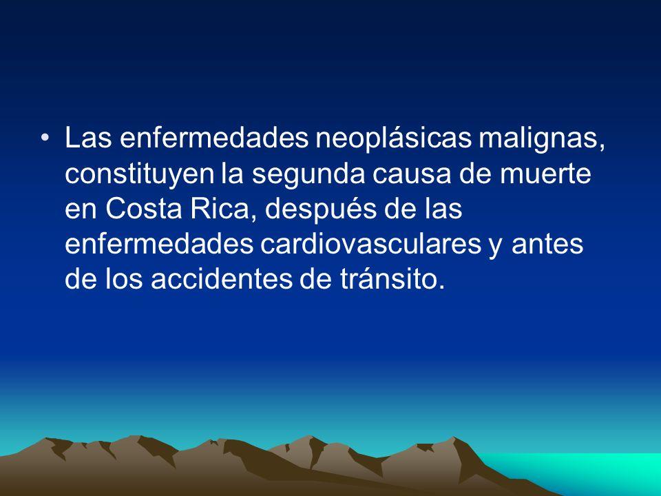 Las enfermedades neoplásicas malignas, constituyen la segunda causa de muerte en Costa Rica, después de las enfermedades cardiovasculares y antes de los accidentes de tránsito.