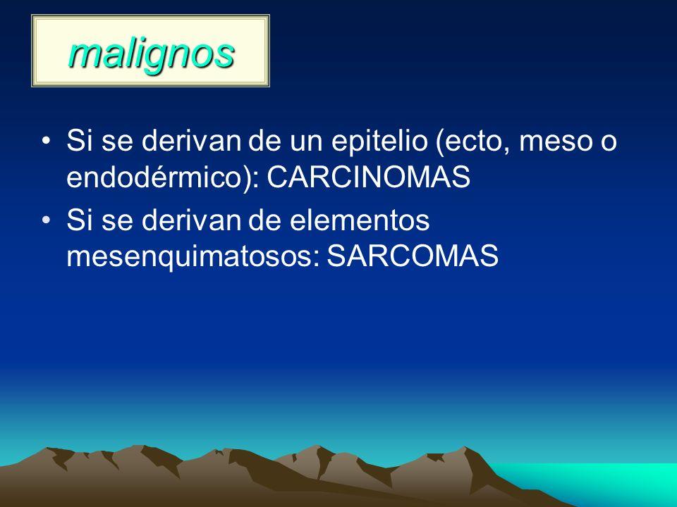 malignos Si se derivan de un epitelio (ecto, meso o endodérmico): CARCINOMAS.