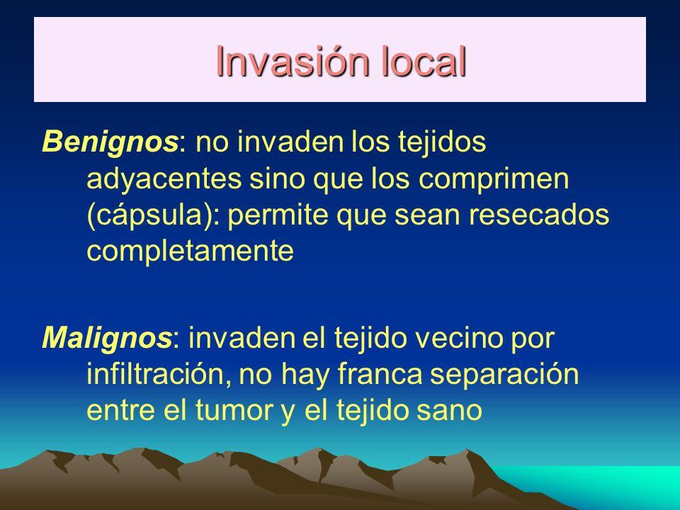 Invasión local Benignos: no invaden los tejidos adyacentes sino que los comprimen (cápsula): permite que sean resecados completamente.