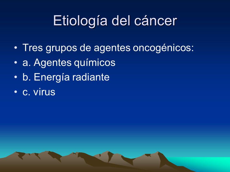 Etiología del cáncer Tres grupos de agentes oncogénicos: