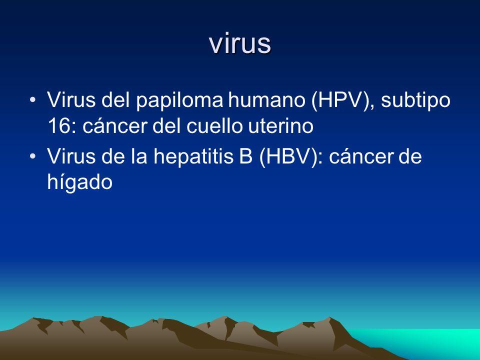 virusVirus del papiloma humano (HPV), subtipo 16: cáncer del cuello uterino.