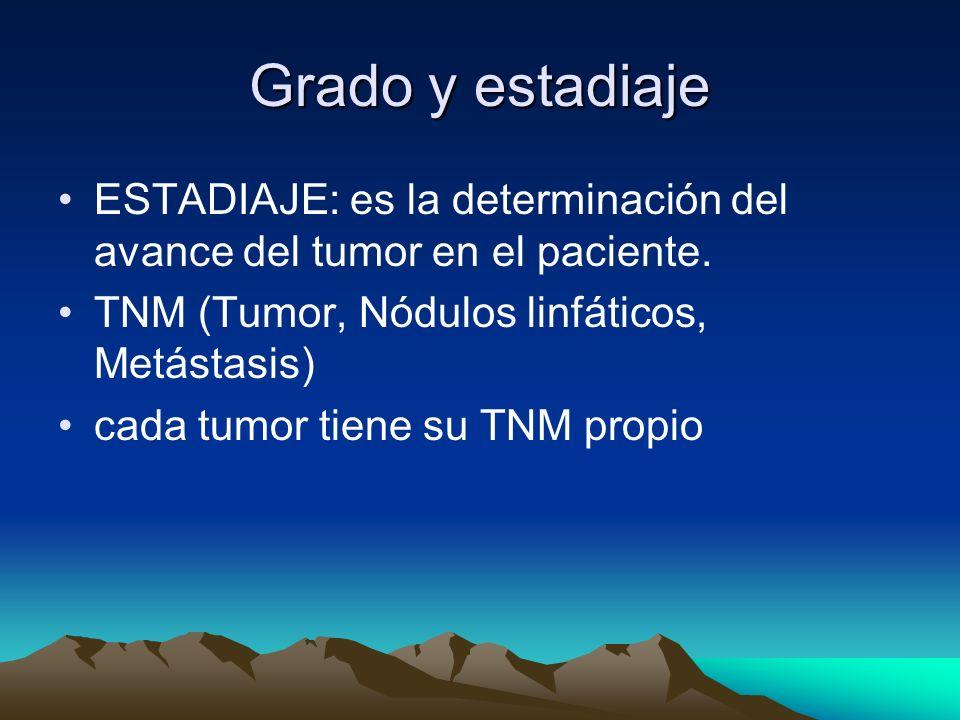 Grado y estadiajeESTADIAJE: es la determinación del avance del tumor en el paciente. TNM (Tumor, Nódulos linfáticos, Metástasis)