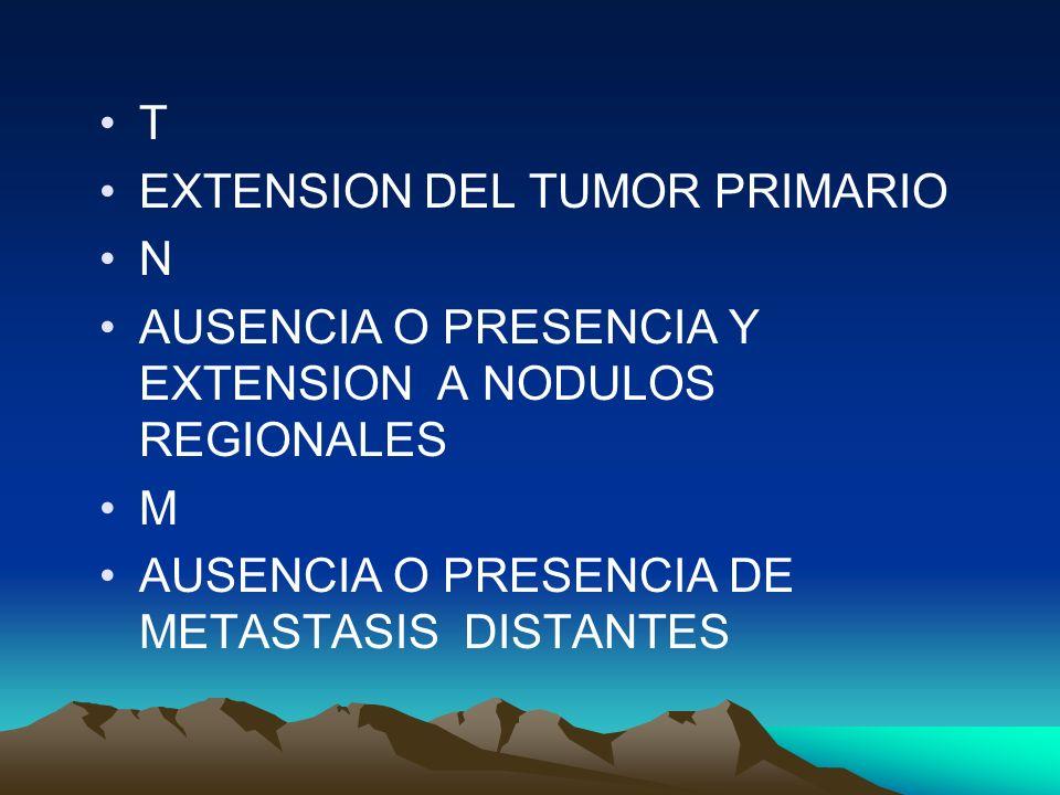 T EXTENSION DEL TUMOR PRIMARIO. N. AUSENCIA O PRESENCIA Y EXTENSION A NODULOS REGIONALES.