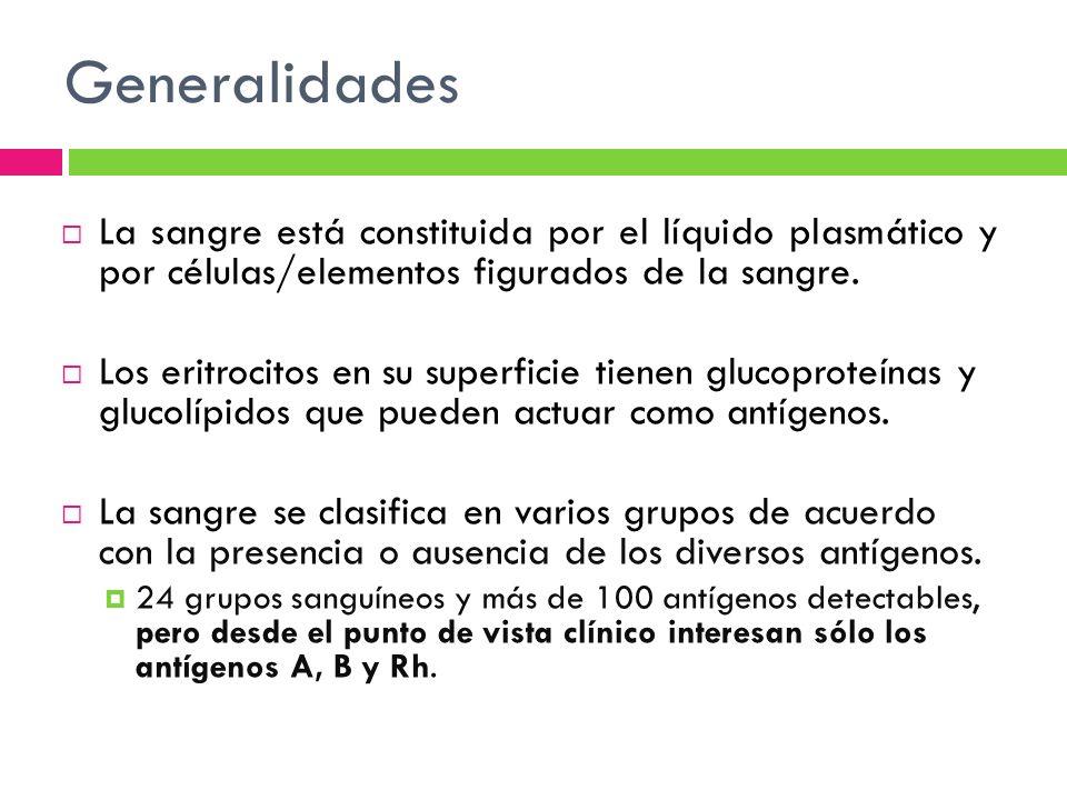 Generalidades La sangre está constituida por el líquido plasmático y por células/elementos figurados de la sangre.