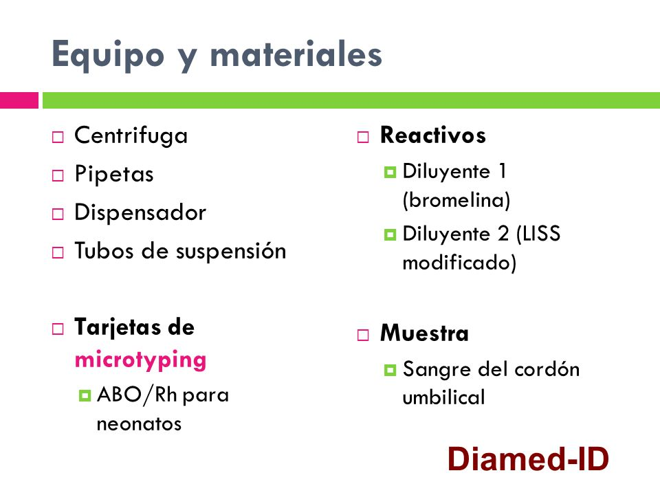 Equipo y materiales Diamed-ID Centrifuga Pipetas Dispensador
