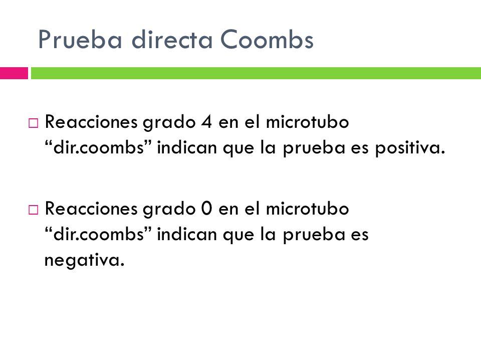 Prueba directa Coombs Reacciones grado 4 en el microtubo dir.coombs indican que la prueba es positiva.