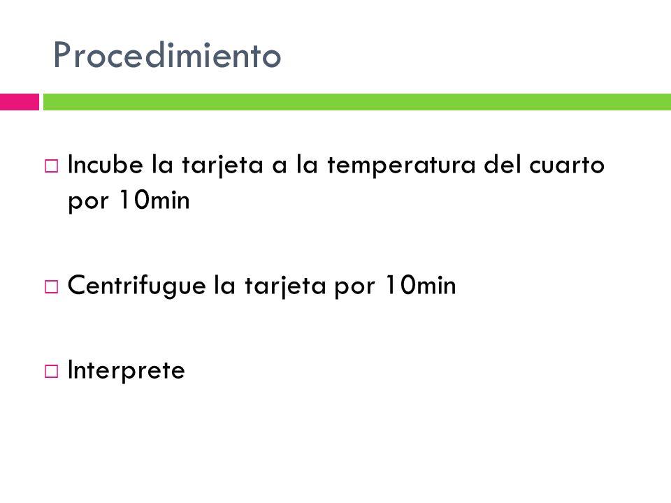 Procedimiento Incube la tarjeta a la temperatura del cuarto por 10min