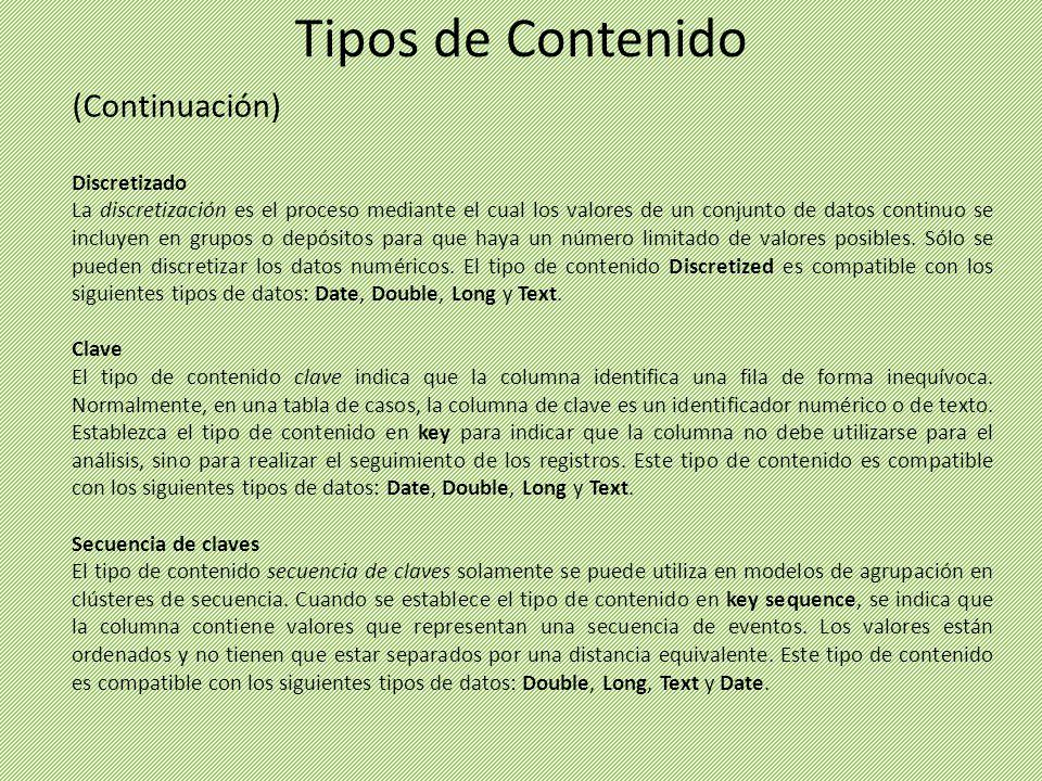 Tipos de Contenido (Continuación) Discretizado