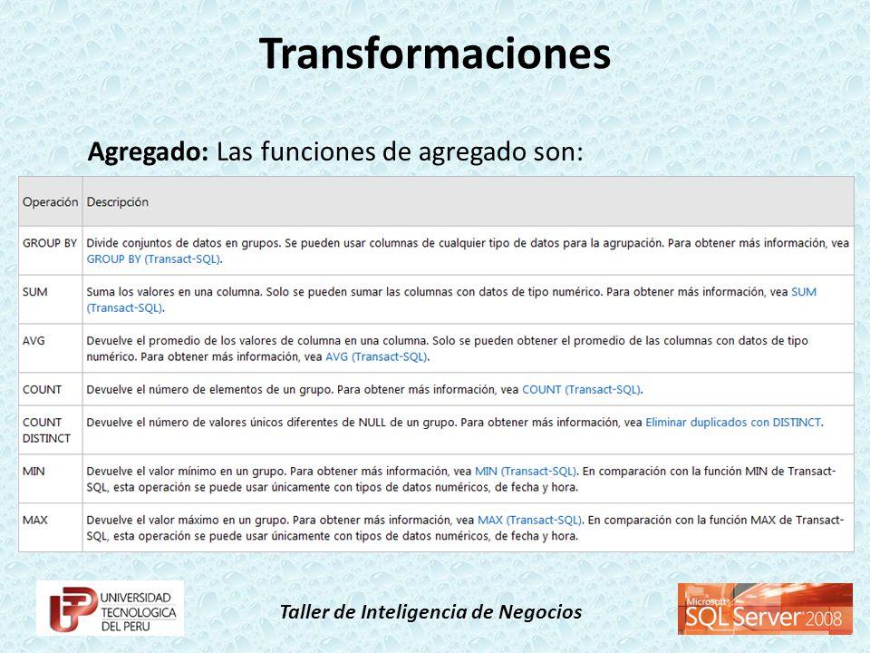 Transformaciones Agregado: Las funciones de agregado son: